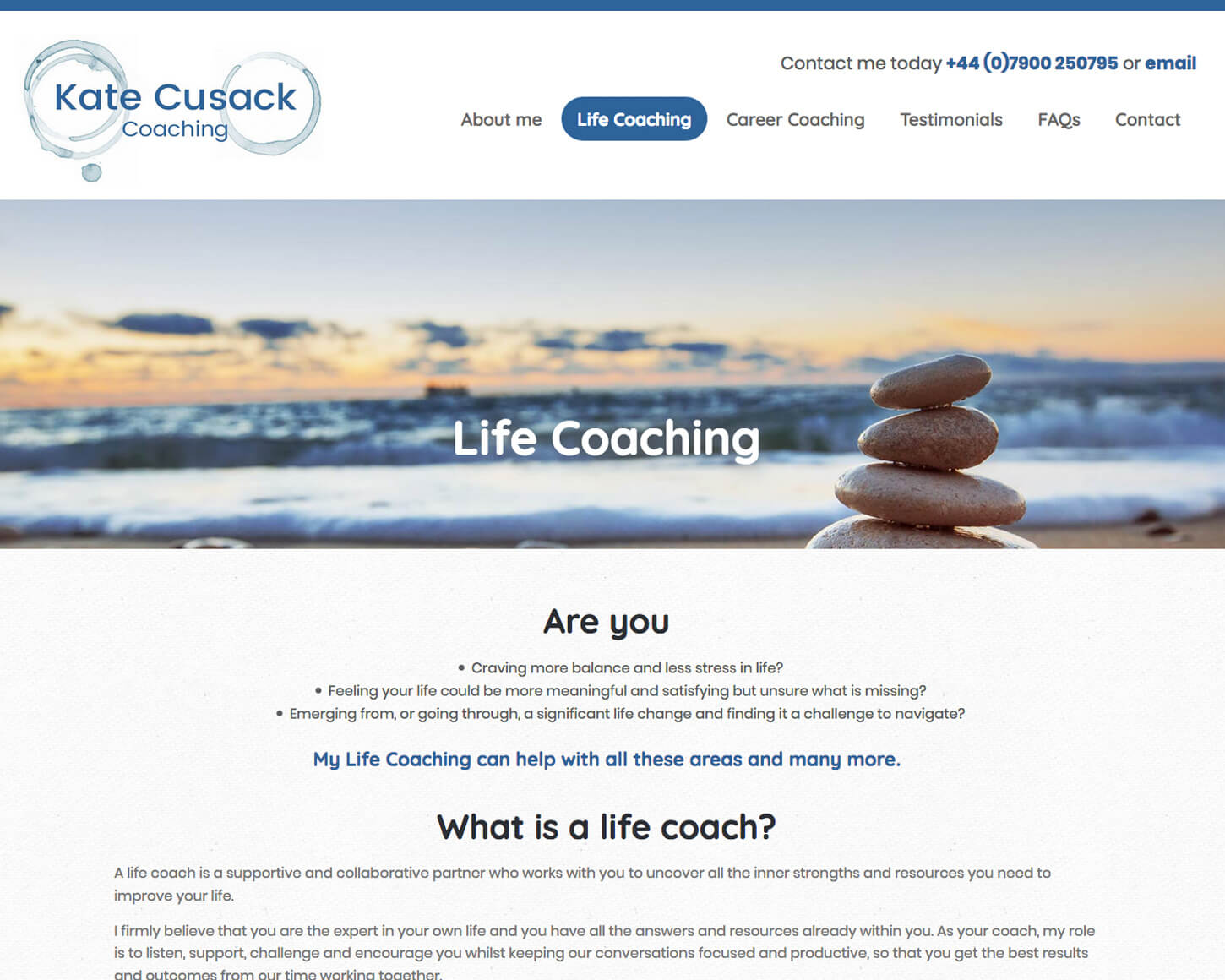Kate Cusack Coaching website