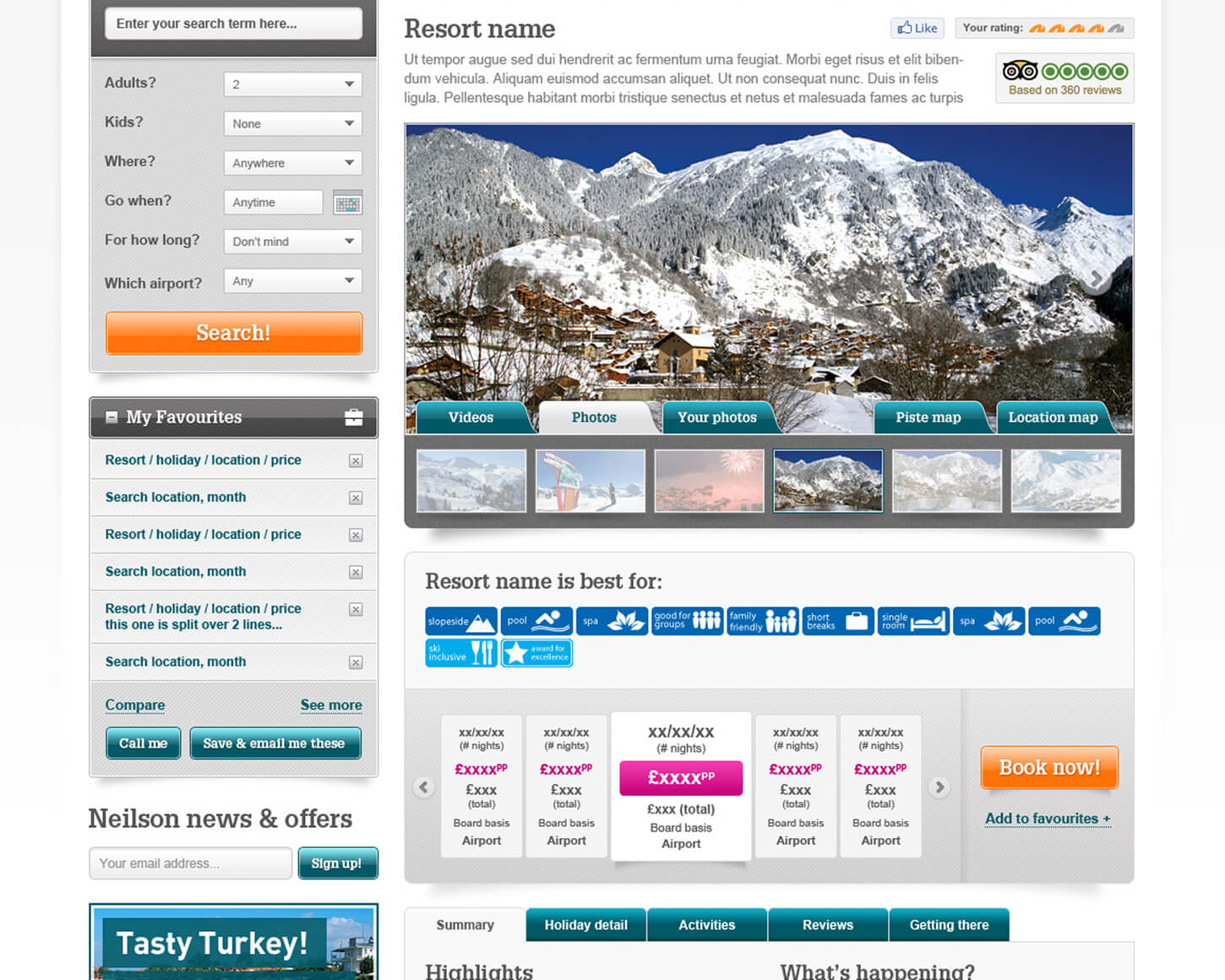 Neilson Holidays website detail page