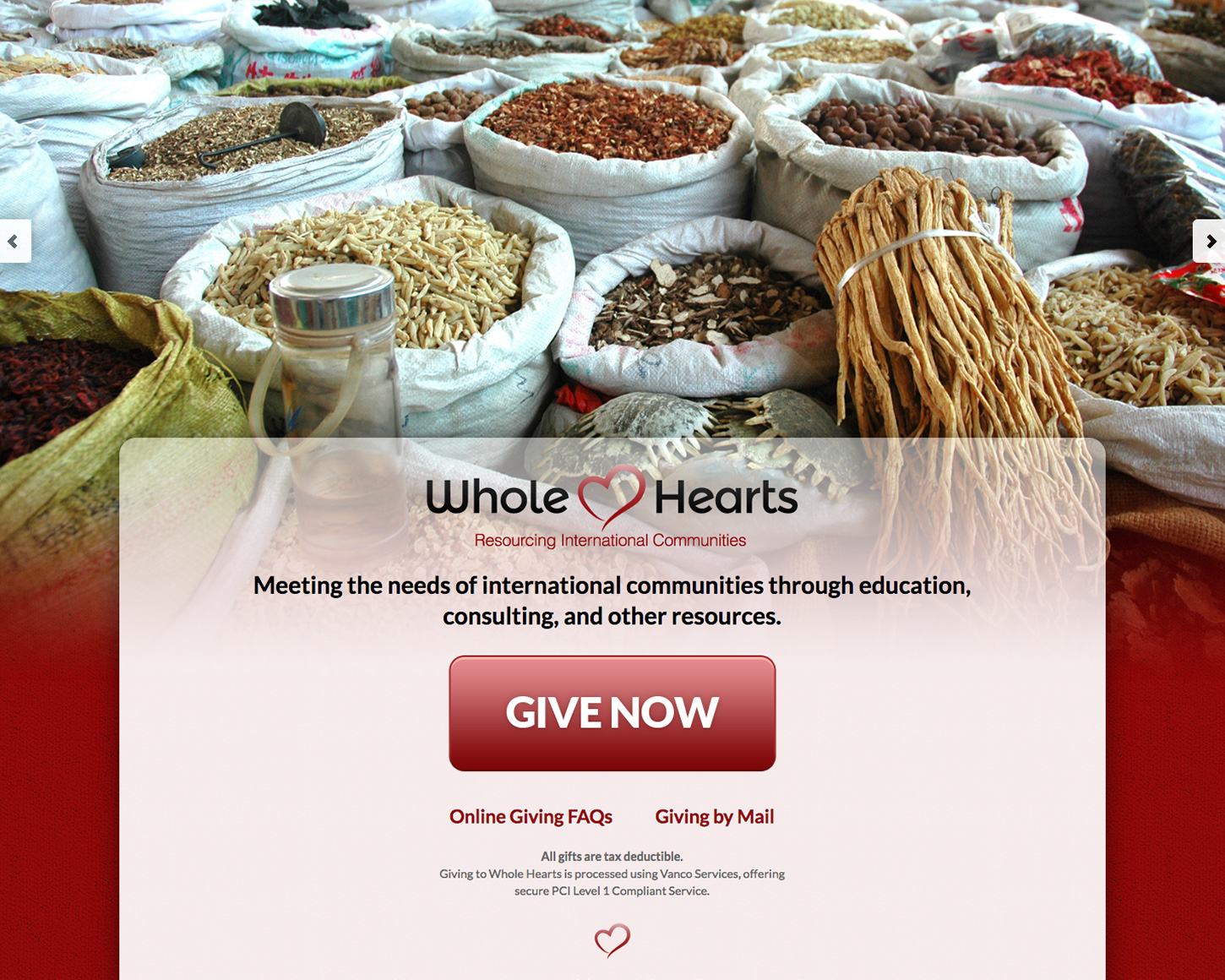 Whole Hearts website